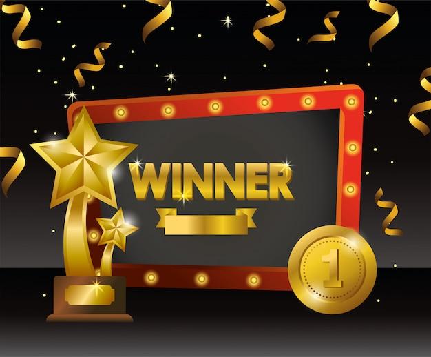 Godło zwycięzcy z nagrodami w postaci gwiazdek i monet