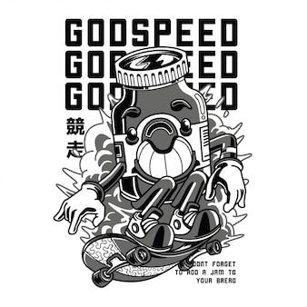 Godspeed czarno-biała ilustracja