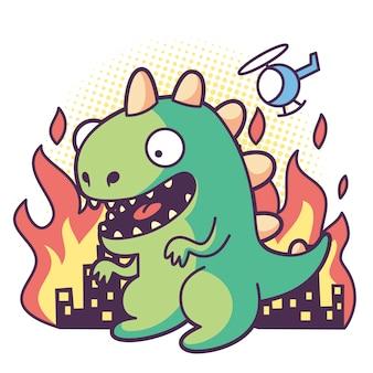 Godzilla niszczy miasto