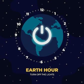 Godzina ziemi ilustracja z planetą i wyłącz przycisk