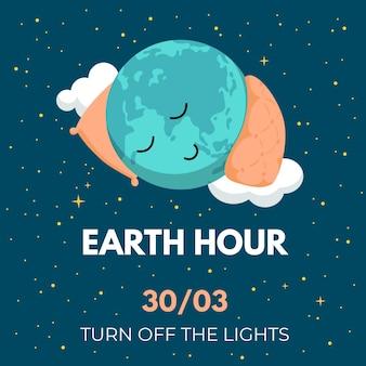 Godzina ziemi ilustracja ze śpiącą planetą