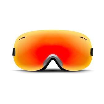 Gogle narciarskie na białym tle. zimowa szklana maska na śnieg. snowboardowa ochrona twarzy. okulary przeciwsłoneczne w stylu vintage.