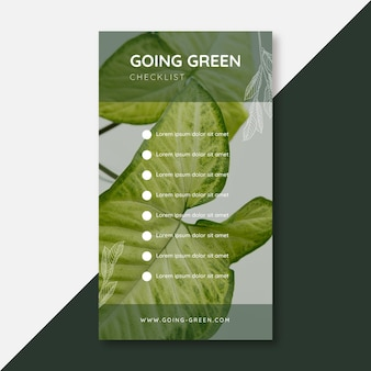 Going green checklist historia na instagramie