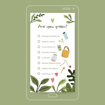Going green checklist szablon historii na instagramie