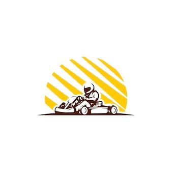 Gokart wyścigi clipartów na białym tle