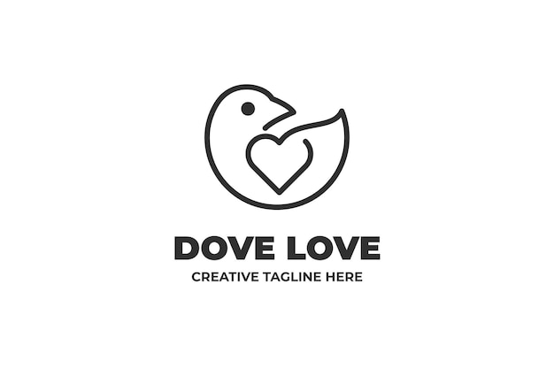 Gołąb miłości ptak monoline logo firmy