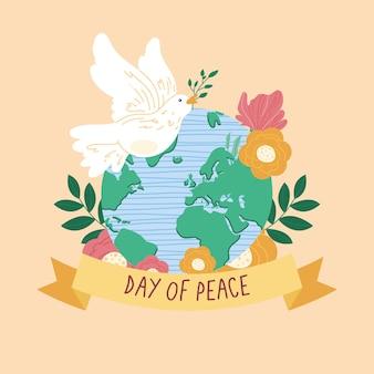 Gołąb pokoju na światowej planecie ziemia