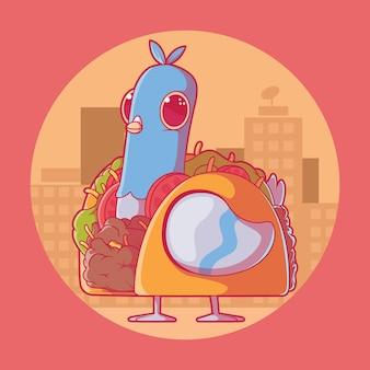 Gołąb przebrany za taco