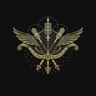 Gold archer ze skrzydłami