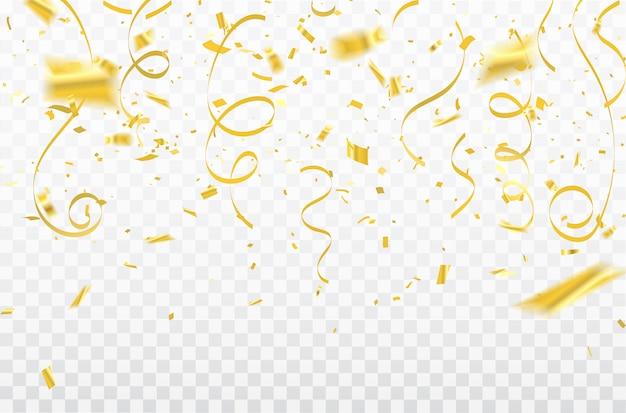 Gold confetti celebration karnawałowe wstążki. karta luksusowa z bogatym powitaniem.