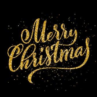 Gold merry christmas party odręcznie napis. szablon karty z napisem
