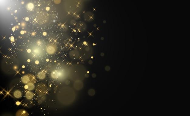 Gold Sparkles, Magiczny, Jasny Efekt świetlny Na Przezroczystym Tle. Premium Wektorów