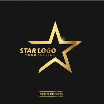 Gold star logo vector illustration template