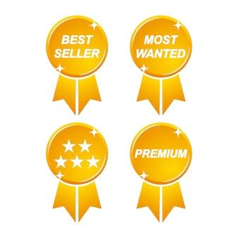 Golden best seller most wanted to zestaw pięciu gwiazdek z tasiemką premium