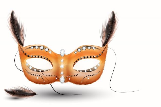 Golden carnival mask, masquerade, mardi gras. karnawałowy błyszczący napis, plakat na imprezę nocną, ulotkę na imprezie tanecznej, baner na imprezę muzyczną, zaproszenie na karnawał. - wektor