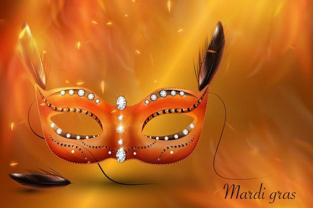 Golden carnival mask, masquerade, mardi gras. karnawałowy błyszczący napis, zaproszenie na karnawał.