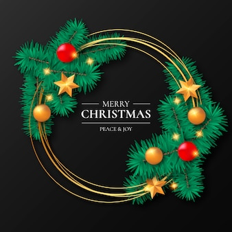 Golden christmas frame z ozdobami