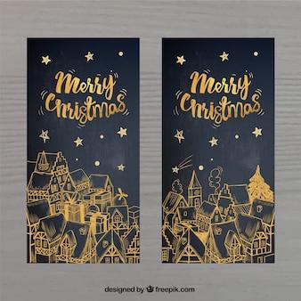 Golden christmas karty okolicznościowe
