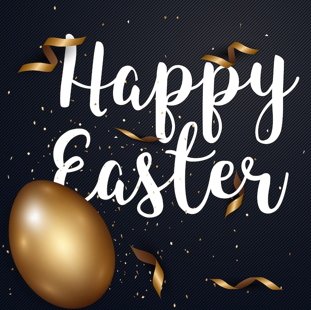 Golden happy easter greeting card