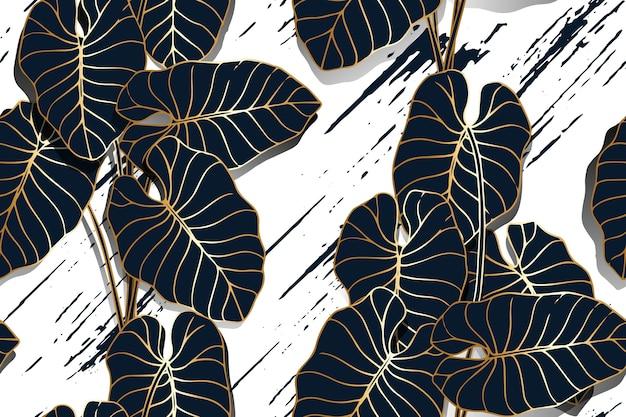 Golden line taro pozostawia wzór z tłem pędzla
