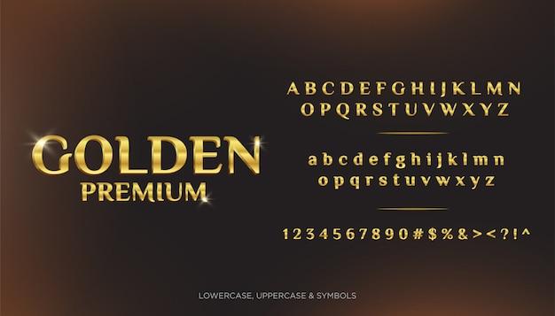Golden premium text alphabets 3d