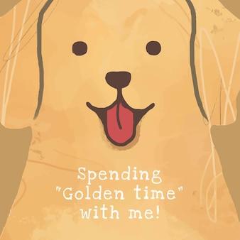 Golden retriever pies szablon wektor post w mediach społecznościowych, spędzając ze mną złoty czas