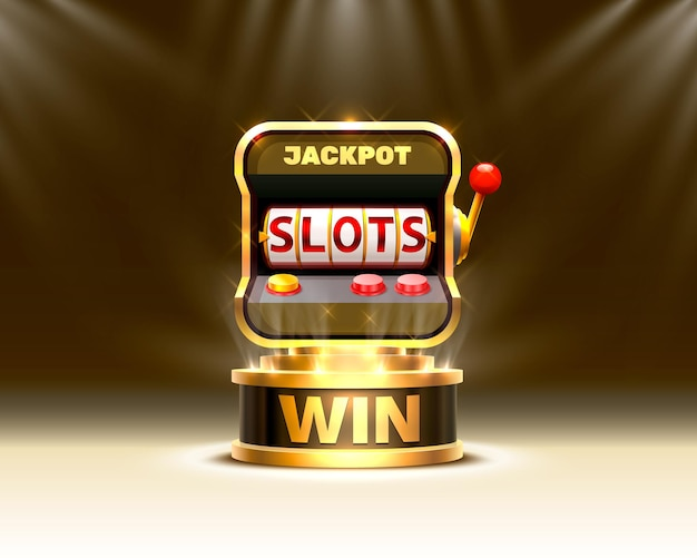Golden slots 777 banner kasyno na tle sceny.