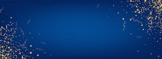 Golden star swirl panoramiczne niebieskie tło