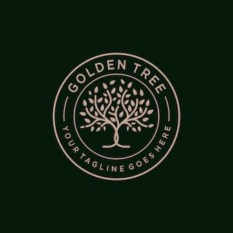 Golden tree oak banyan maple emblem wektor projektu logo