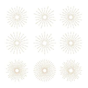 Golden vintage sunburst design vector template set style 1