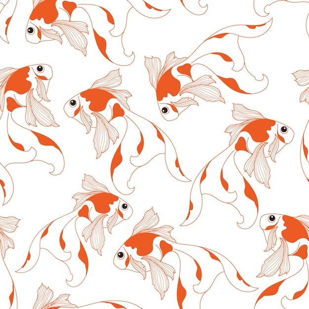 Goldfish bezszwowy wzór na białym tle