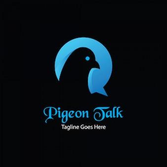 Gołębia rozmowa app logo koncepcja
