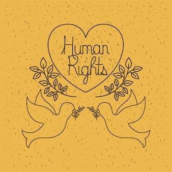 Gołębie latające z dobrami praw człowieka w sercu