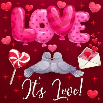 Gołębie ptaki, serca, miłosne balony. walentynki