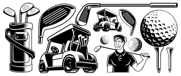 Golf clipart z różnymi elementami projektu, na białym tle.