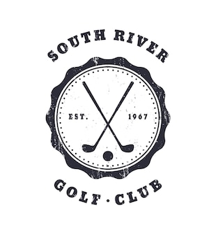 Golf club grunge vintage godło, ilustracji wektorowych