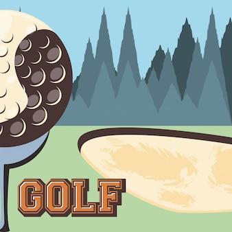 Golf club retro banner z polem golfowym