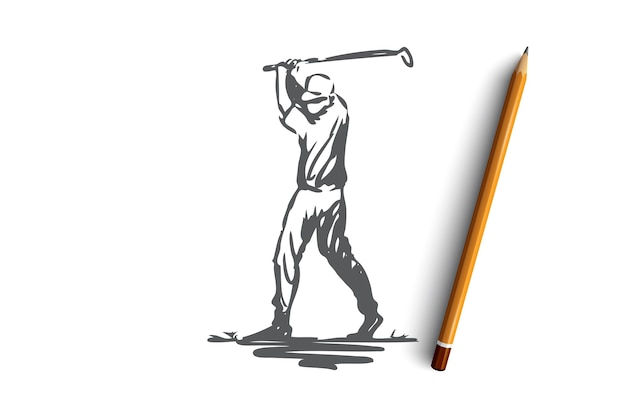 Golf, gra, szkolenie, sport, koncepcja golfa. ręcznie rysowane golfista w szkicu koncepcji działania. ilustracja.
