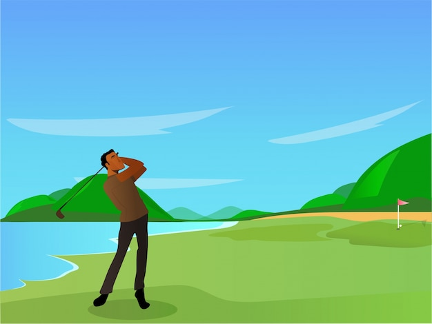 Golf gracz na pole golfowe, koncepcja sportu.