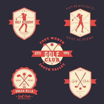 Golf vintage herby, logo, zestaw odznak