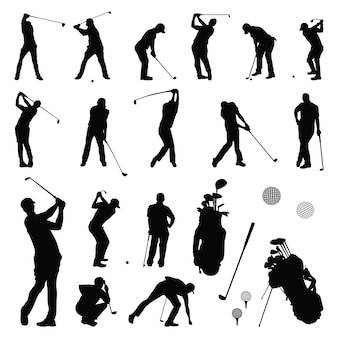 Golfer play - golf player playing silhouette