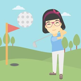 Golfista uderza piłkarską wektorową ilustrację.
