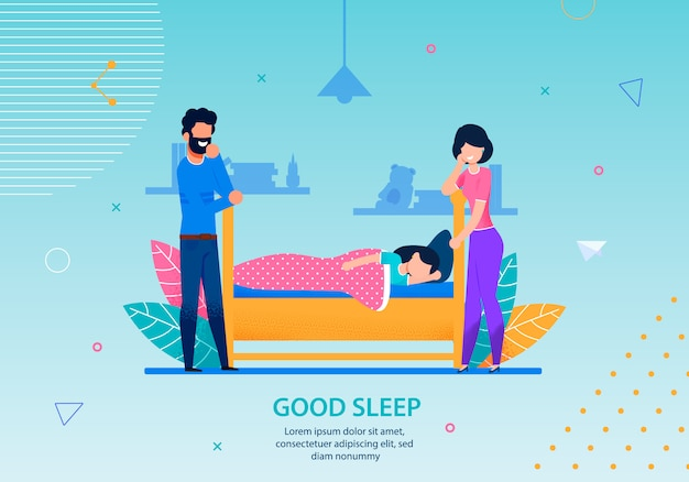 Good sleep banner happy family conceptual template