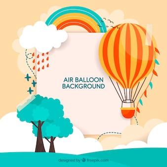 Gorące powietrze balonowy tło z niebem w ręka rysującym stylu