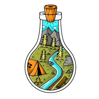 Góra i namiot na ilustracji butelki