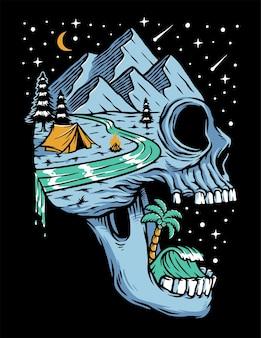 Góra i plaża na wyspie czaszki nocą