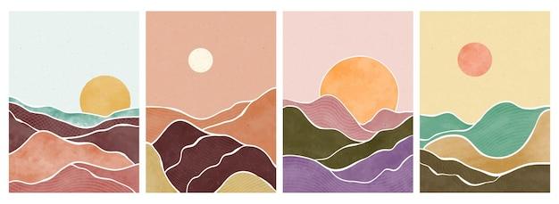 Góra, las, wzgórze, fala, słońce i księżyc na dużym planie. nowoczesna minimalistyczna grafika z połowy wieku. abstrakcyjny współczesny krajobraz estetyczny.