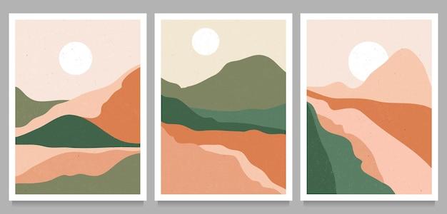Góra, las, wzgórze, fala, słońce i księżyc na dużym planie. nowoczesna minimalistyczna grafika z połowy wieku. streszczenie współczesnych estetycznych tła krajobrazu.