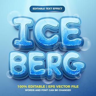Góra lodowa 3d zamrożony edytowalny efekt tekstowy w stylu kreskówki