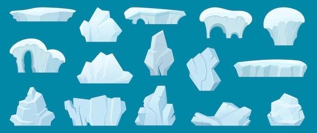 Góra lodowa. arktyczny krajobraz z zimnymi białymi lodowymi skałami w kolekcji kreskówek wody oceanu.